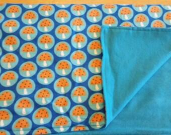 Polka dot mushroom baby blanket