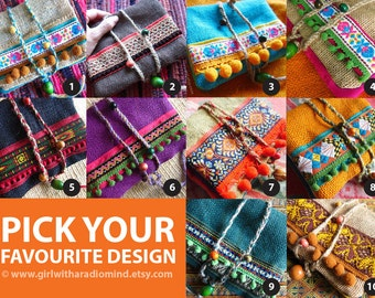 Passport Wallet - Original Boho Travel Purses Handmade with Colorful Burlap Jute / Made Upon Order