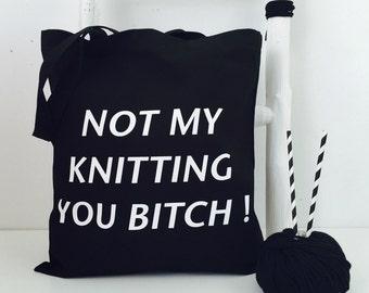 Large Knitting bag - Black knitting tote bag