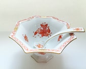 Herend China Serving Bowl Octagonal Footed Candy Bowl w/ Spoon Downton Abbey China