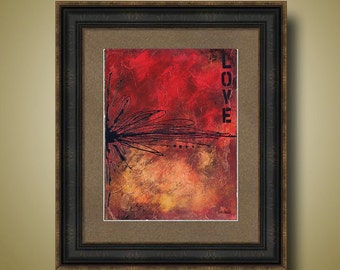 PRINT or GICLEE Reproduction -- Abstract Red Art Print, Love is Like Oxygen, Red Abstract Painting