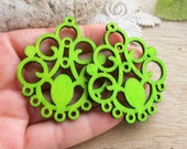 WP13 / # 5 Daiquiri Green / Filigree Wood Circle Pairs for Earring / Cold Color Laser Cut  Circle Wooden Charm /Pendant /Wood earring drop
