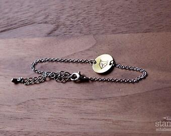 FOX bracelet // silver and raw brass // hand stamped jewelry