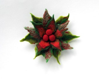 FLOWER Christmas Poinsettia Red Pin felt  brooch -  green and red, ready to shipGift under 50 USD
