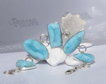 Larimar bracelet, Turquoise Feelings - azure Larimar gemstones, turquoise bracelet, links bracelet, handcrafted bracelet - wrist size 7 3/4