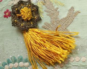 Antique rayon and metal tassel trim art deco rosette trim flapper flowers badge ribbon ribbonwork ornaments