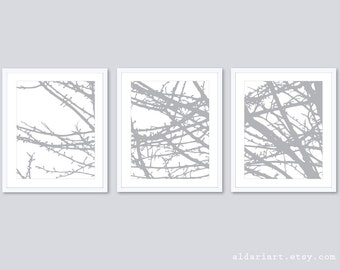 Modern Gray Branches Art Prints - Tree Branches Wall Art - Gray or Custom Color - Set of 3 Prints - Aldari Art