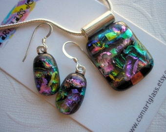 Jewelry Set Dichroic Fused Glass Happy Confetti Colors on Black Glass Pendant and Earring Sparkly Jewelry Color Shifting Iridescent Glass