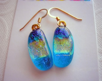 Fused Glass Earrings Sparkling Turquoise Dichroic Glass Gold Splash 14K Gold Earwires Dichroic Glass Jewelry Dangle Earrings Dangly Dichro