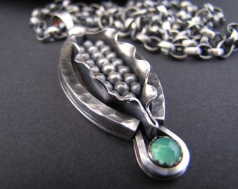 Corn Maiden Ethanol Sterling Pendant with Chrysoprase