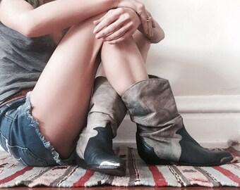 Navy Blue Boho Cowboy Boots - US 6