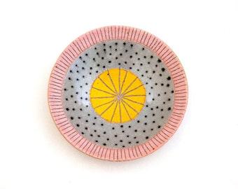 Ceramic Pink and Yellow Polka Dot Jewelry Dish