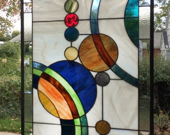 "Galaxy 1 Large 36.5"" x 18.75"" - Stained Glass Window Panel"
