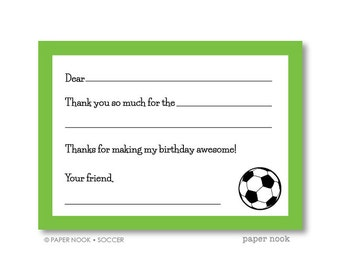 Soccer PRINTABLE Fill-in-the-Blank Thank You Note