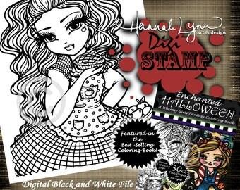 PRINTABLE Digi Stamp Apple Dumplin Girl Enchanted Halloween Coloring Page Fun Fantasy Art Hannah Lynn