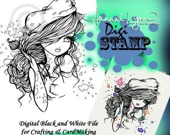 PRINTABLE Digi Stamp Artist Girl Tattoo Coloring Page Fun Fantasy Art Hannah Lynn