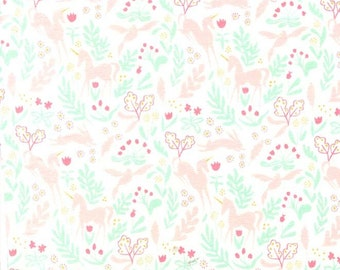 White Pink and Aqua Unicorn Jersey Knit, Magic By Sarah Jane for Michael Miller Fabrics, Magic Folk, 1 Yard Jersey KNIT