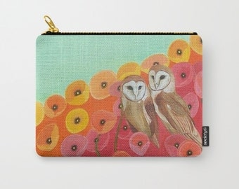 Owls and Poppies Flower Zipper Pouch Red Orange Carry All