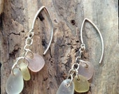 ON SALE Seaglass Earrings  - Bottle Earrings - Glass Jewelry - Sterling Earrings - FREE Shipping