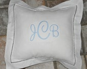 Monogrammed Pillow 12x12 Hemstitched Linen Accent Pillow Personalized Pillow Accent Pillow with Monogram Personalized Pillow