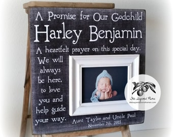 Baptism Gift Boy, Baptism Gift for Godson, Picture Frame, A Promise For Our Godchild, 16x16 The Sugared Plums Frames