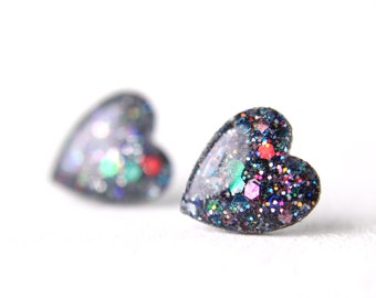 rainbow slate heart earrings, rainbow glitter studs, rainbow heart, nickel free stud, sterling silver post, valentines day gift - LARGE SIZE