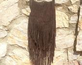 SALE Suede Fringe Bag, Suede Tassell Bag, Natural Leather Fringe Bag, Brown, Maroon/Rust, Pink and Aqua Cross Body  or Shoulder Bag