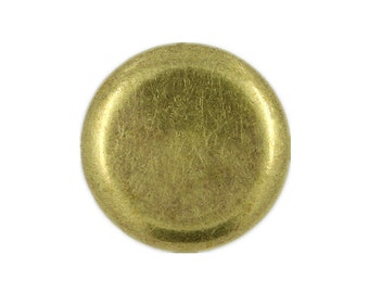 Metal Buttons - Flat Antique Brass Metal Shank Buttons , 0.79 inch , 10 pcs