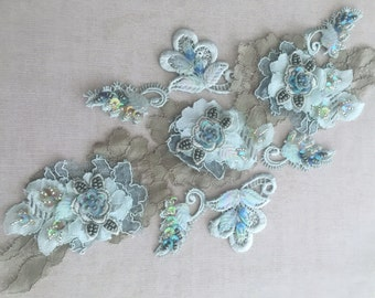 Olive green/Blue beaded lace appliqué