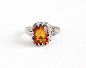 Vintage 14k White Gold Art Deco Citrine Filigree Ring - 1920s Size 3 3/4 Orange Gem November Birthstone Flower Wheat Dainty Fine Jewelry