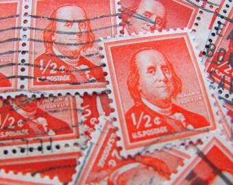 It's Electric 50 Vintage Ben Franklin US Postage Stamps Orange 1/2c Electricity Postmaster General Embellishments Scrapbooking Mail Art 1030