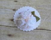 READY TO SHIP White Triple Floral Cluster with Leaves Hair Clip Photo Prop Smash Cake First Birthday Every Day Hair Clip