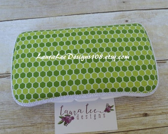 READY TO SHIP, Green Honeycomb Geometric Print Travel Baby Wipe Case, Personalized Case, Hexagon, Hex Print, Baby Shower Gift, Wipe Holder