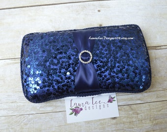 READY TO SHIP, Navy Blue Sequin, Travel Wipe Case, Baby Wipe Case, Diaper Wipe Case, Baby Wipe Holder, Baby Shower Gift, Baby Wipe Clutch