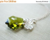 14OFFSALE Necklace, Crystal Necklace, St Patrick's Day Jewelry, Green Necklace, Shamrock Necklace, Swarovski, Baroque Pendant, Olivine, No.