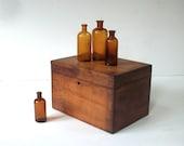 Vintage Wood Box with Hinges / Distressed Finish / Notions Box / Potions Box / Storage Organization / Secret Storage / Gift Box / Patina