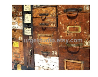 Vintage Drawers Photo Composition / Old Hardware Store Drawers / Digital File / Instant Download / You Print / Original Photograph Image