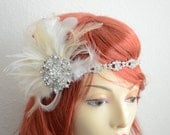 1920s Gold Brooh Rhinestone Headband, Feather fascinator, Gatsby Gold headpiece, White and Champagne feathers