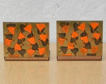 Modern Orange Brown Gold Enameled Copper Bookends