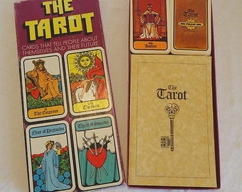 3 Vintage Sets 1973 Hoi Polloi Tarot Deck 77 cards & Book w/ Box Essential TAROT to Go Book 78 Cards  Turn your Ex Boyfriend into a Toad Kit