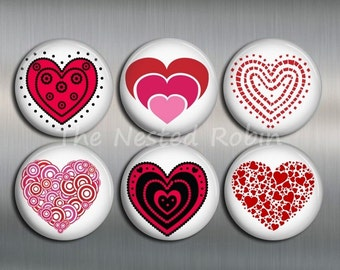 HEART MAGNETS with gift pouch - Set of 6