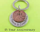 Anniversary Gift - Anniversary Gift For Men - Personalized KeyChain - Stamped Penny KeyChain - Years & Counting Keychain