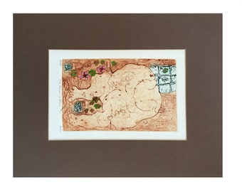 The Morning After  Signed Artist Proof Intaglio Aquatint Fine Art Etching Matted and Framed