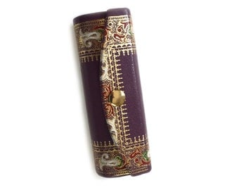 Vintage Italian Leather Mirrored Lipstick Case with Gilt Decoration Purple and Gold