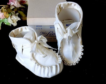 Baby Moccasins in White Leather by The Leada Baby Shoe Inc Danvers Massachusetts