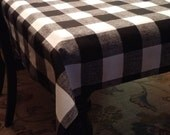 NEW Choose Size Tablecloth Black Buffalo Plaid 54x72,84,96, or 108