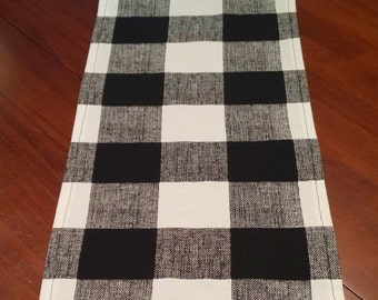 Fashionable Table Runner for Holiday -Wedding- Fall- Decor Black Buffalo Plaid