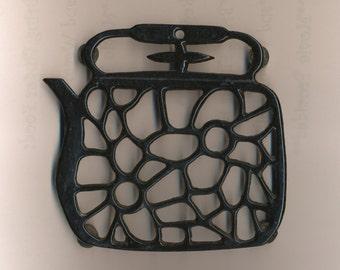 Little Black Teapot Trivet enameled iron wrought