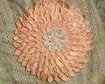 Vintage Boudoir Satin Flower Rosette Pillow Case