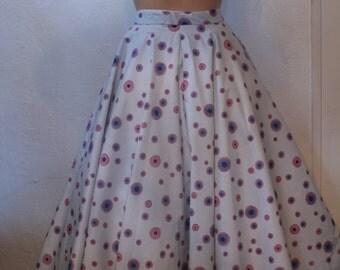 Vintage 1950s Blue Circle Skirt Co-Ordinate Circle Print XS